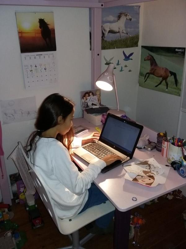 -Romane devant ordinateur : Romane écrit depuis l'âge de 5 ans toute sorte d'histoires magiques ou réaliste. Elle tape tout sur ordinateur depuis l'âge de 9 ans.