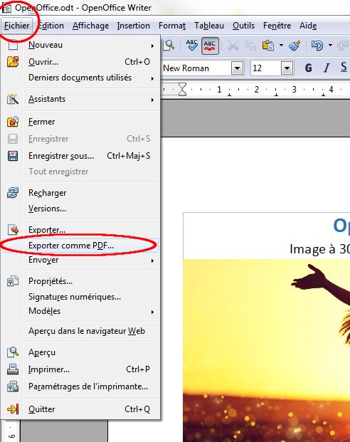 Writer, exporter en PDF
