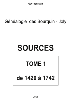 SOURCES – TOME 1 – 1420 A 1742